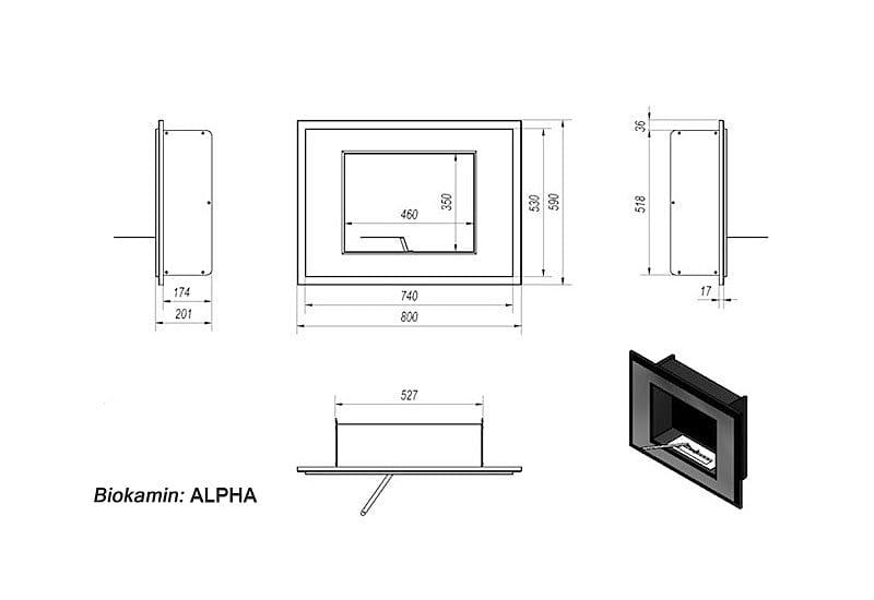 biokamin alpha schwarz t v wandkamin 80 x 59 cm. Black Bedroom Furniture Sets. Home Design Ideas