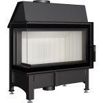 "Warmluft Kamineinsatz - ZIBI 12 L/BS  DECO - (11kW) Eck Verglasung links ""Glass"""